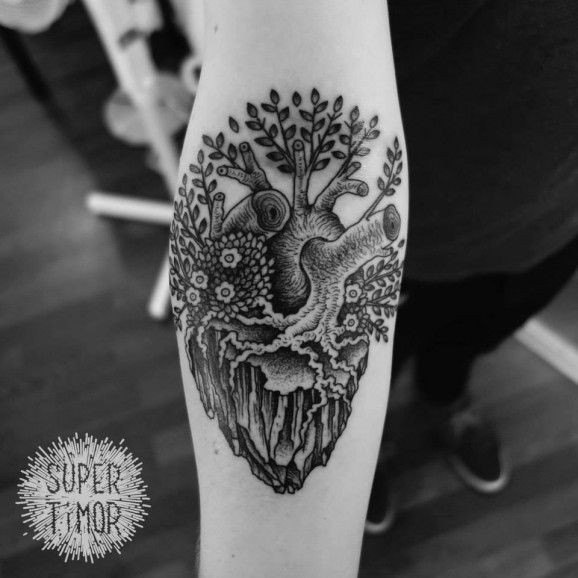 656230e43 Tree grown out of heart forearm tattoo by Super Timor - Tattooimages.biz