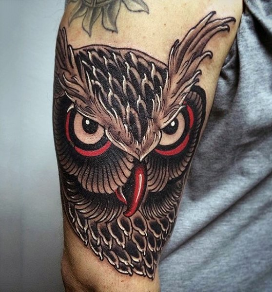 Tremendous traditional detailed colored wise owl&quots head tattoo on shoulder