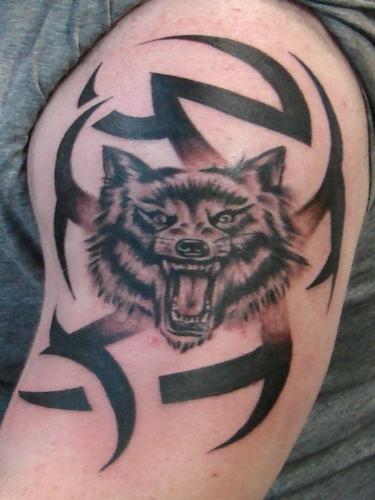 Tatuaggio sul deltoide la faccia del lupo con la bocca spalancata