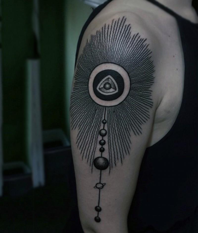 Tribal ornament like black ink planet parade shoulder length tattoo