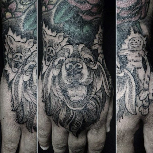 Tribal style black ink various animals tattoo on hand