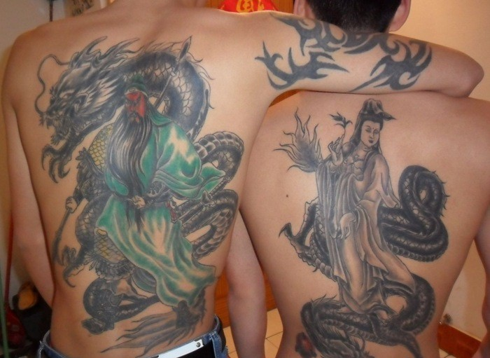 Two cool chinese tattoo designs on back