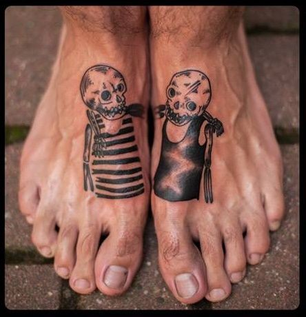 Two skeletons tattoo on feet by Kim Craftz