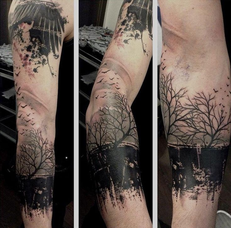 typical black and white forearm tattoo of forest with. Black Bedroom Furniture Sets. Home Design Ideas