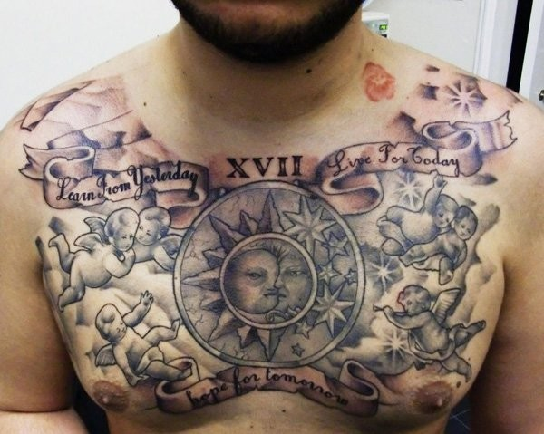 Typical black and white small angels with moon and sun tattoo on chest stylized with lettering