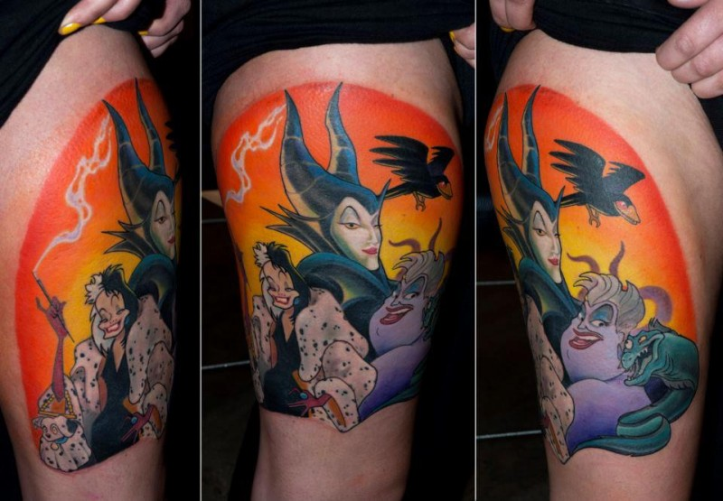 Typical colored cartoon style thigh tattoo of old cartoons evil heroes