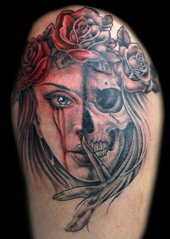 typical colored half woman half skull tattoo with roses. Black Bedroom Furniture Sets. Home Design Ideas