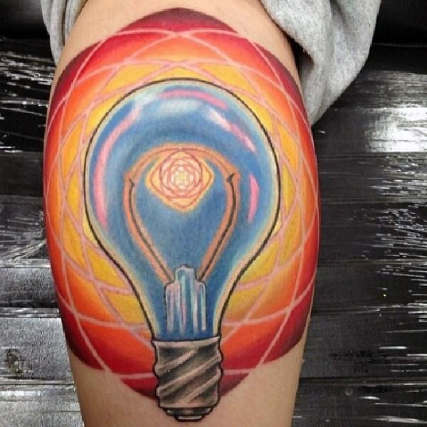 Typical colored leg tattoo of big bulb