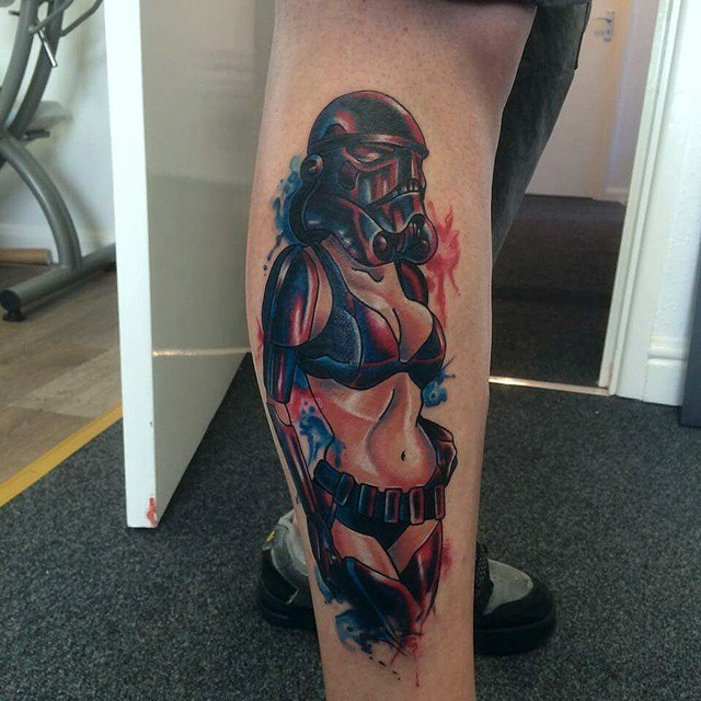 Typical colored leg tattoo of colored sexy Storm troopers woman