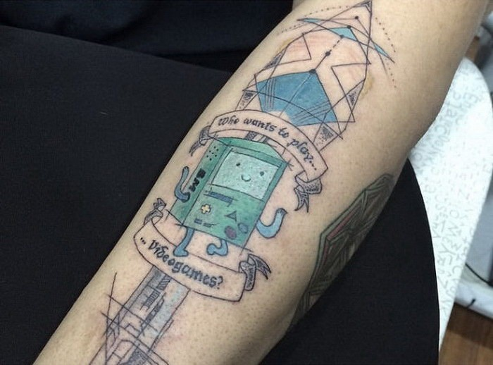 Typical colored sleeve tattoo of fantasy robots and lettering