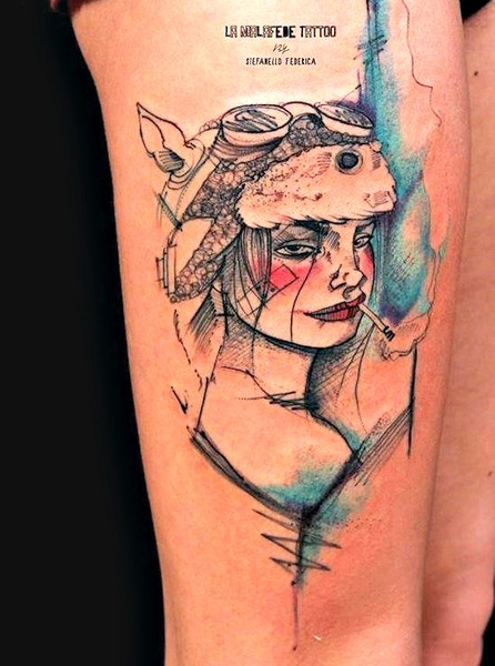 Typical colored thigh tattoo of smoking woman in hat
