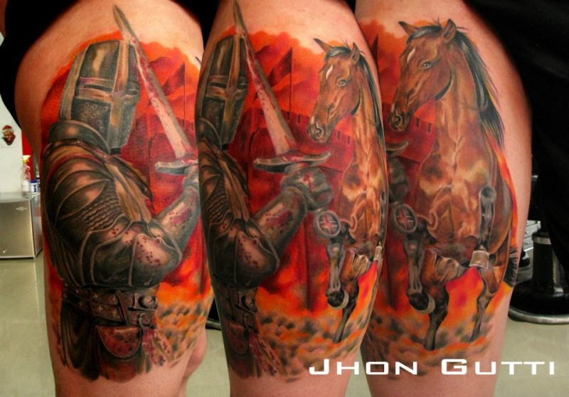Typical designed vintage picture like colored thigh tattoo of medieval knight with horse