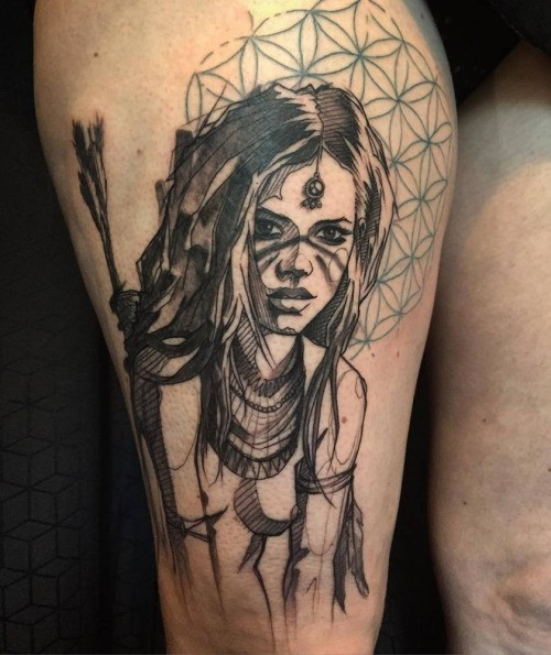 Typical illustrative style thigh tattoo of Indian woman archer