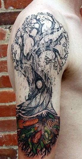 Typical multicolored shoulder tattoo of fantasy tree