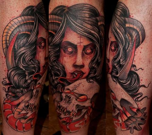 Typical old school style colored devil woman with human skull tattoo