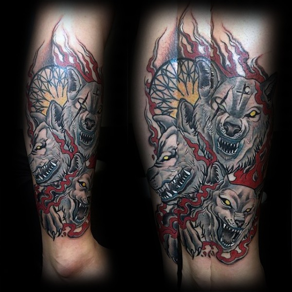 Typical old school style tattoo of bloody Cerberus with flames