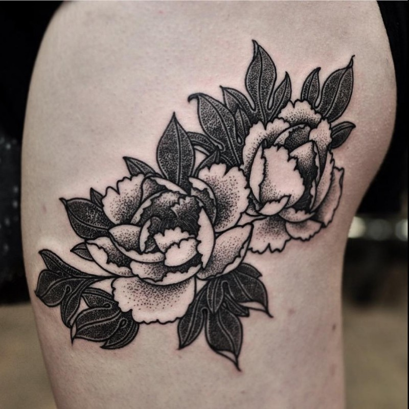 Typical painted black ink thigh tattoo of nice flowers