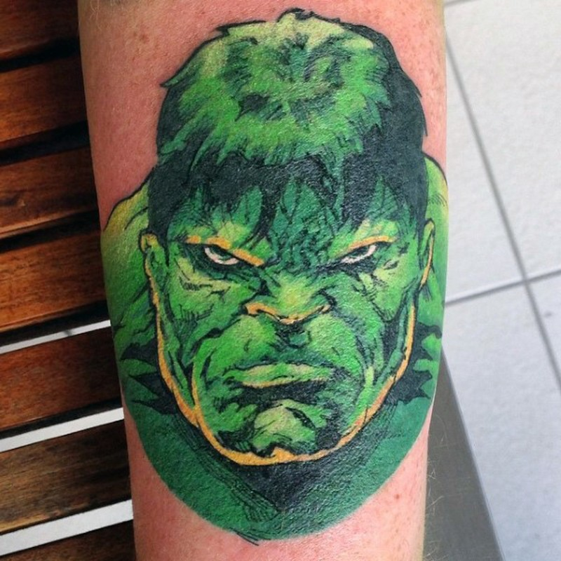 Typical painted colored Hulk head tattoo
