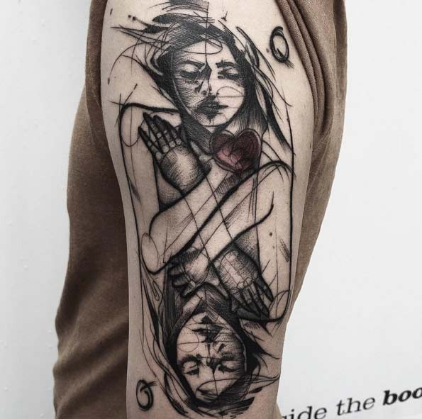 Unbelievable black ink sketch style mirrored woman tattoo on shoulder with red heart