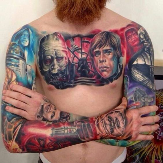 Unbelievable cartoon style colored sleeve and chest tattoo of various Star Wars heroes portraits