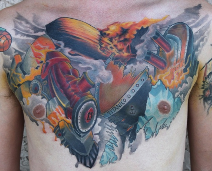 Unbelievable colored chest tattoo of Titanic and steam train