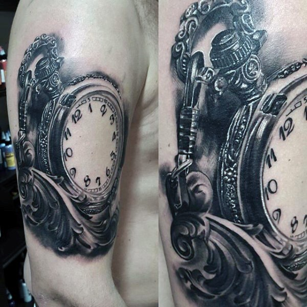 Unbelievable designed and painted black and white gorgeous old clock tattoo on arm