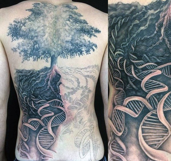 Unbelievable designed black and white big lonely tree with DNA tattoo on whole back