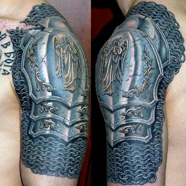 Unbelievable designed very detailed colorful medieval armor on shoulder