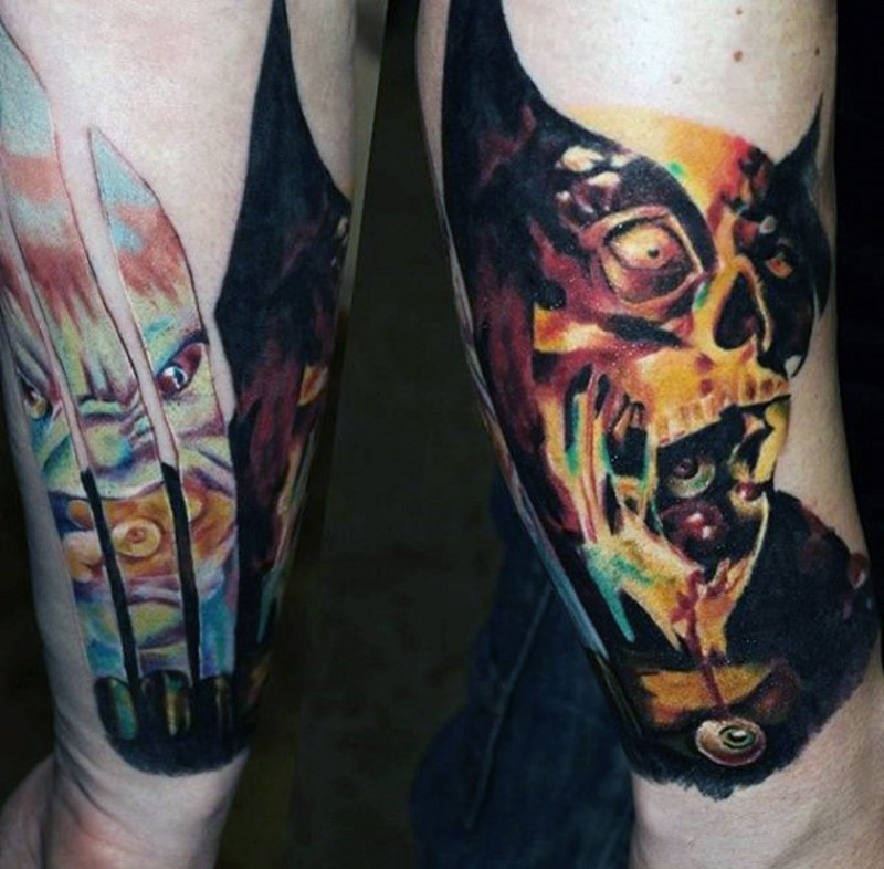 Unbelievable multicolored forearm tattoo of various comic books monsters