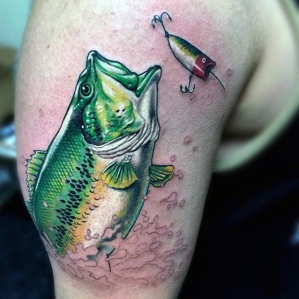 Unbelievable painted very detailed fish chasing the lure shoulder tattoo