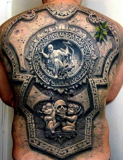 Unbelievable painted very realistic 3D tribal statue tattoo on whole back
