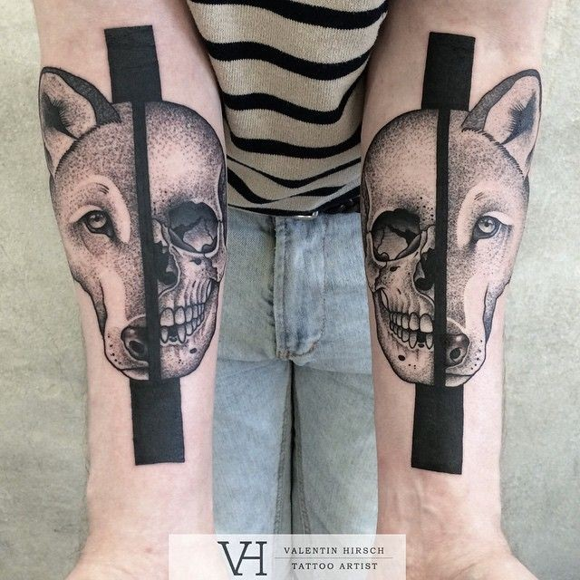 Unbelievable symmetrical painted by Valentin Hirsch forearm tattoo of fox and human skull