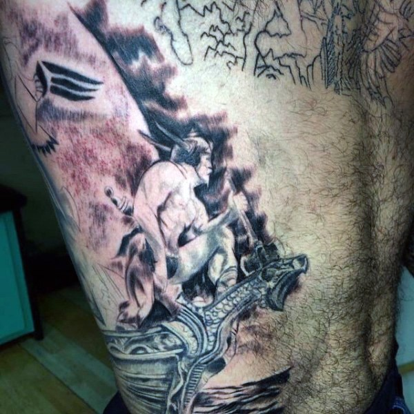 Unfinished black ink side tattoo of fantasy warrior