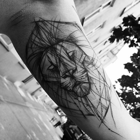 Unfinished black ink sketch tattoo of lion head by Inez Janiak