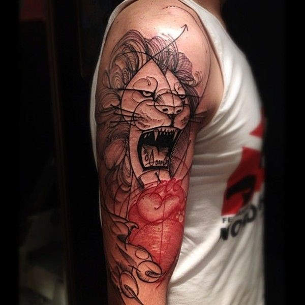 Unfinished half colored shoulder tattoo of roaring lion and human heart