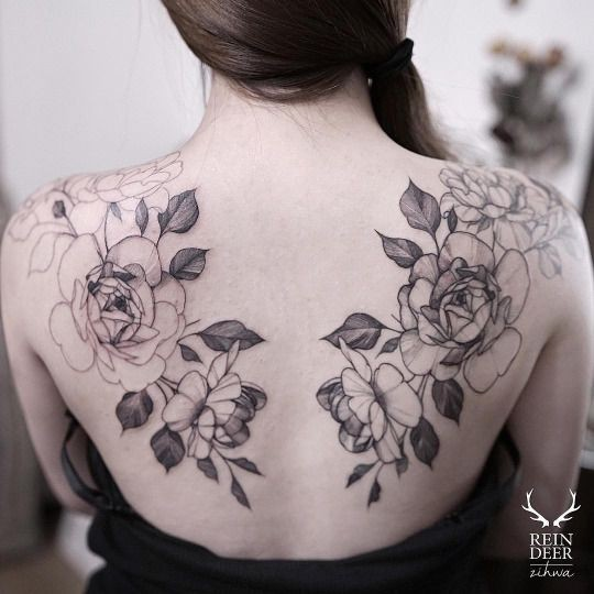 Unfinished symmetrical painted by Zihwa tattoo of various flowers and leaves