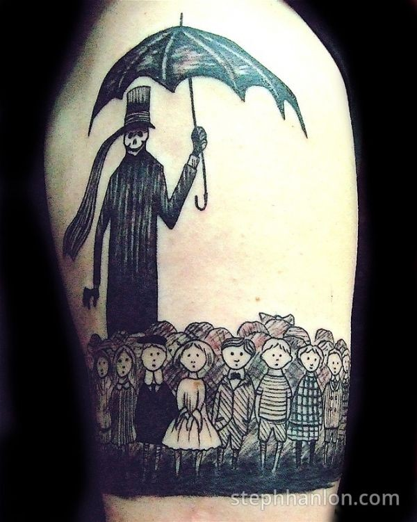 Unique black and white shoulder tattoo of lots of kinds and creepy man with umbrella