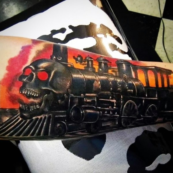 Unique deigned creepy demonic train tattoo on arm