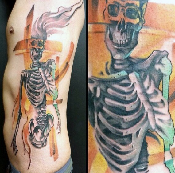 Unique designed and colored big skeleton tattoo on side