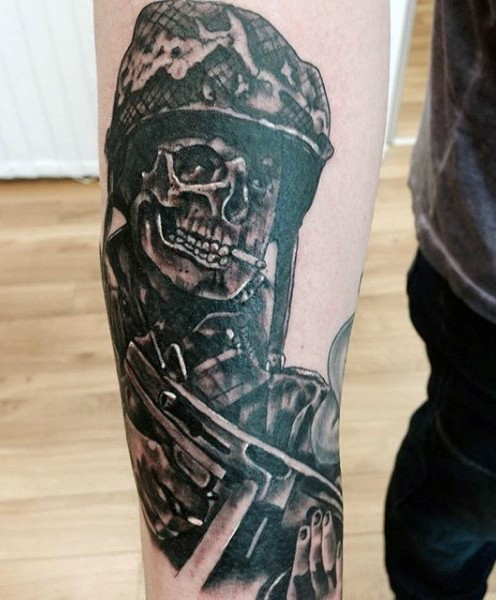 455f5d808 Unique designed black and white smoking skeleton soldier tattoo on arm