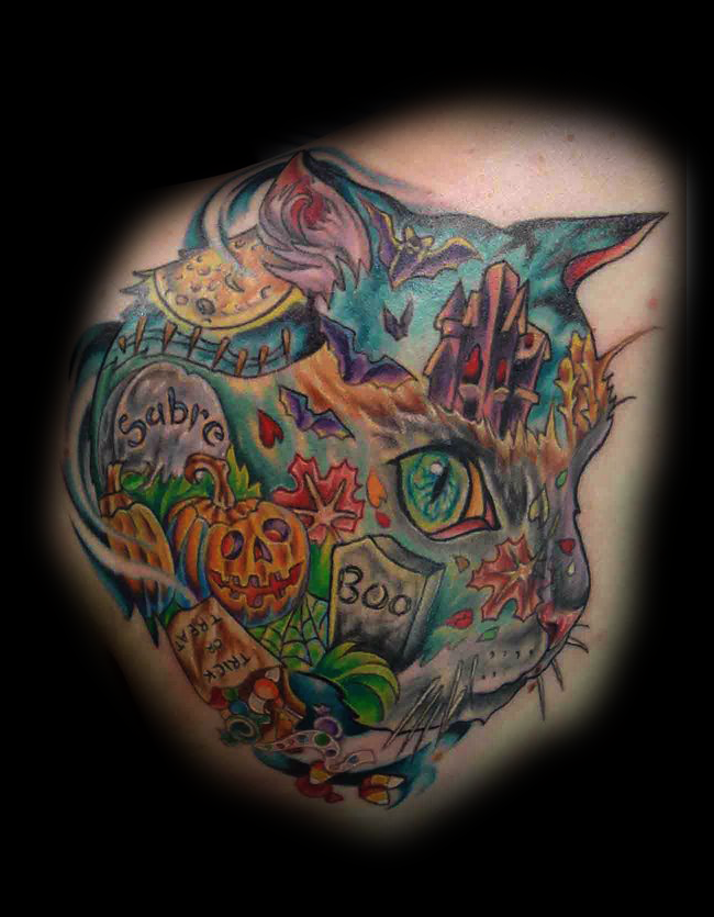 Unique designed cat head tattoo stylized with creepy Halloween cemetery
