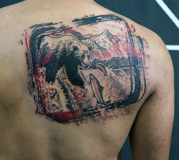 Unique designed colored fishing bear tattoo on upper back