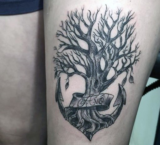 Unique designed little black ink anchor shaped tree with for Black anchor tattoo la