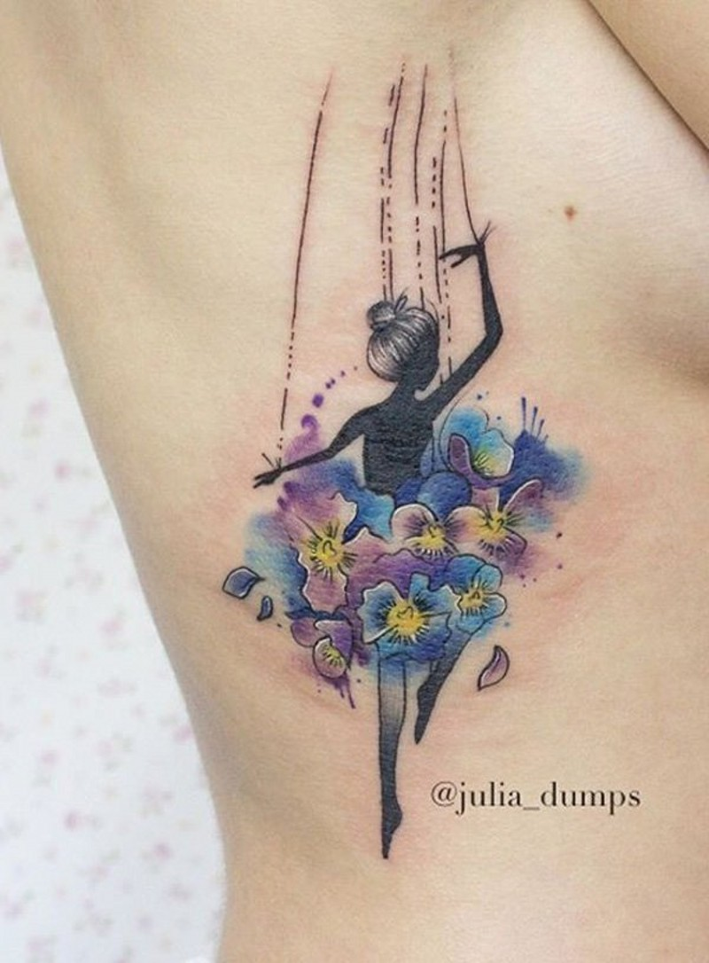 Unique designed little doll dancer with flowers colored tattoo on side