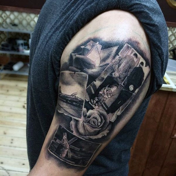 Unique designed various old realistic photos tattoo on sleeve