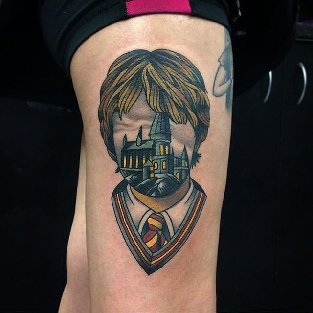 Unique Harry Potter faceless portrait tattoo on arm stylized with magical school