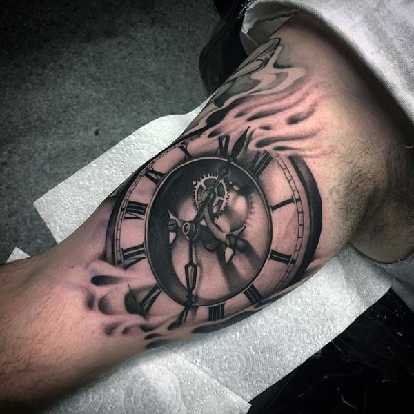 Unique painted big black and white old mechanical clock in fog tattoo on arm