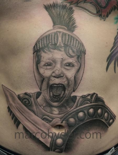 Unique painted black and white very realistic looking belly tattoo of Roman boy warrior in armor