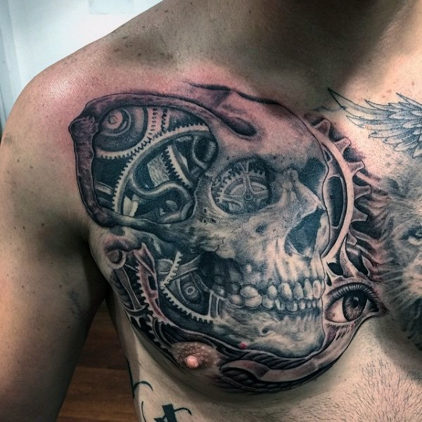Unique painted black ink skull with mechanism tattoo on chest