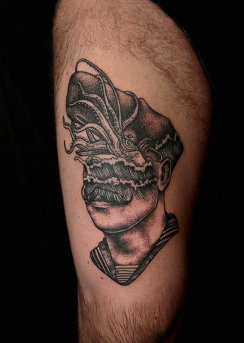 unico stile nero e bianco meta ritratto meta oceano con polipo tatuaggio su coscia